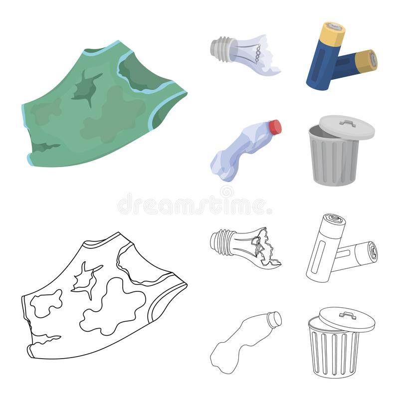 Broken light bulb, used batteries, breaking a plastic bottle, garbage can with a sign.Garbage and trash set collection. Icons in cartoon,outline style vector stock illustration