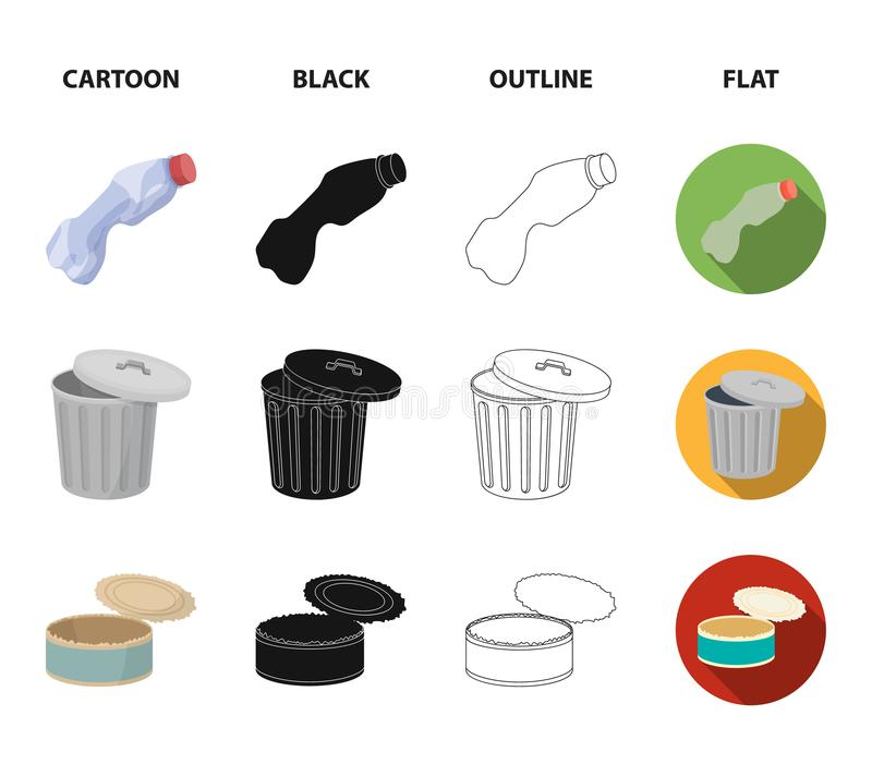 Broken light bulb, used batteries, breaking a plastic bottle, garbage can with a sign.Garbage and trash set collection. Icons in cartoon,black,outline,flat royalty free illustration
