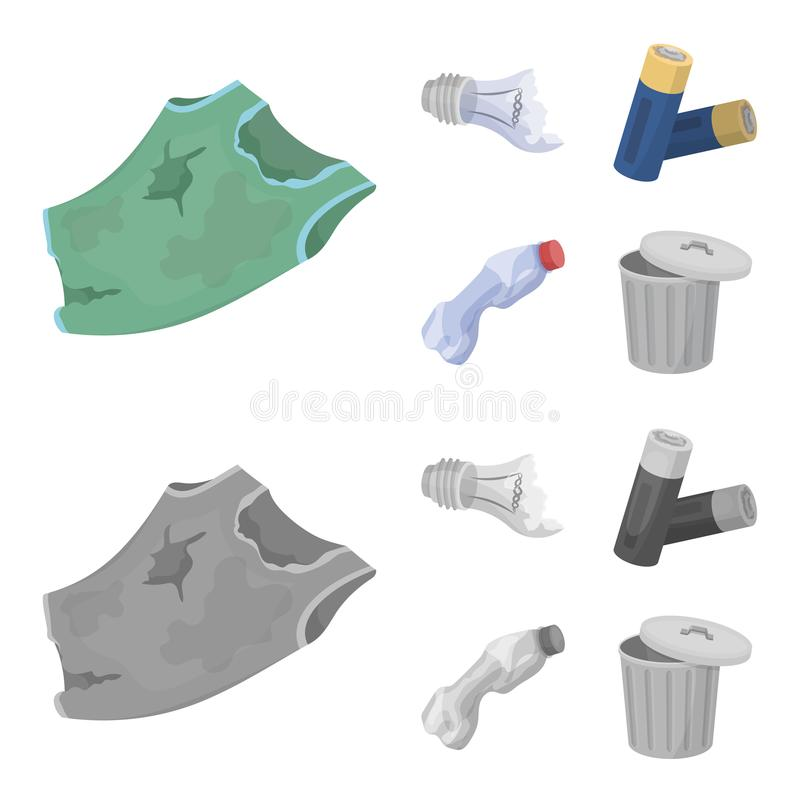 Broken light bulb, used batteries, breaking a plastic bottle, garbage can with a sign.Garbage and trash set collection. Icons in cartoon,monochrome style vector royalty free illustration