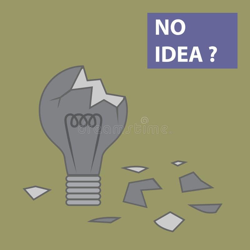 Broken light bulb. With world No Idea stock illustration