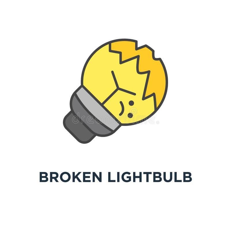 Broken lightbulb icon. cute broken sad light bulb lies on the floor, failure, error, oops or trouble, outline in modern design,. Concept symbol design royalty free illustration