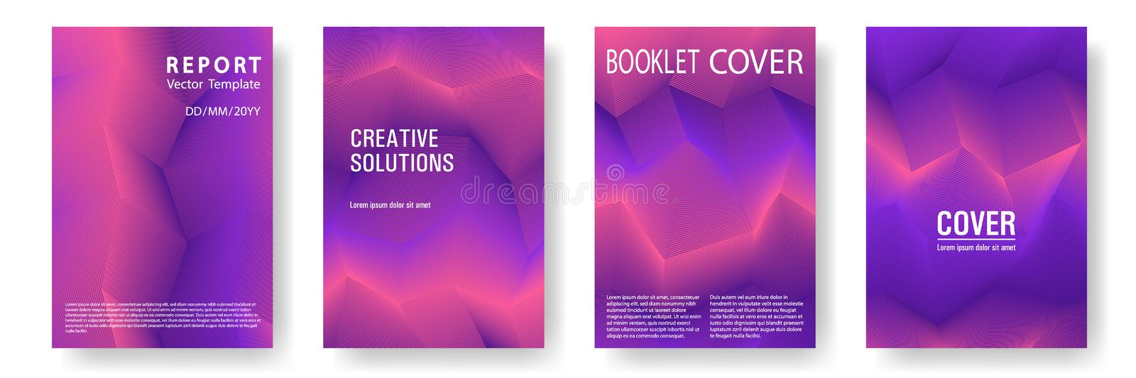 Broken lines gradient report cover templates vector set. Geometric texture cover page layout templates set. Brochures graphic design, business booklet pages royalty free illustration