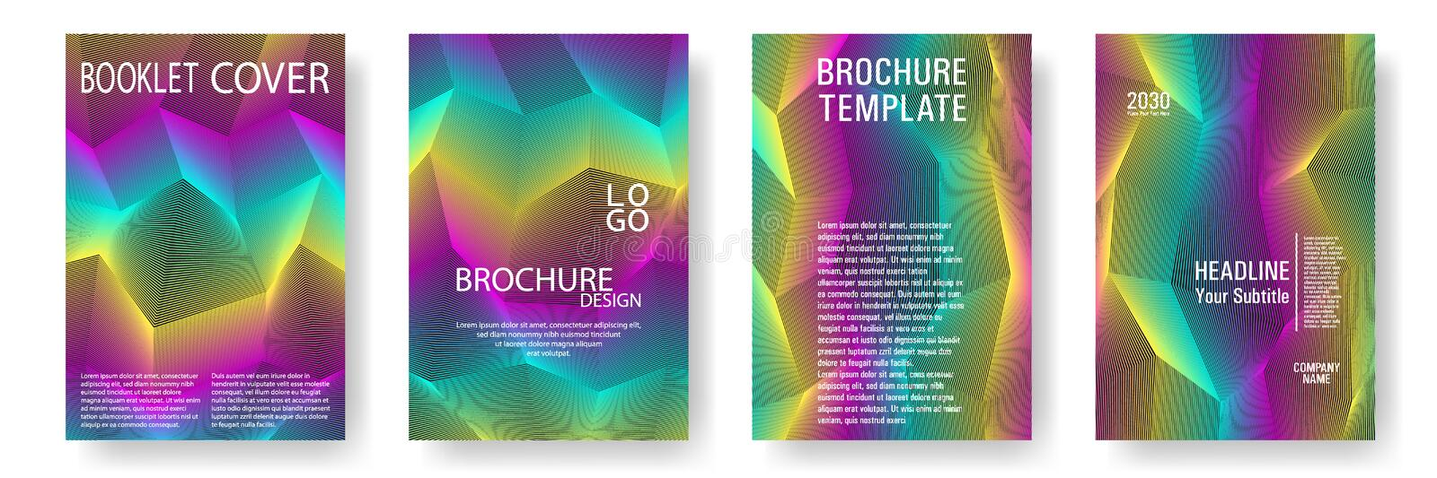 Broken lines gradient report cover templates vector set. Rainbow geometric texture cover pages royalty free illustration