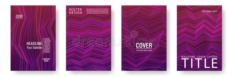 Broken lines gradient report cover templates vector set. Magenta purple gradient texture cover page layout templates set. Brochures graphic design, business stock illustration