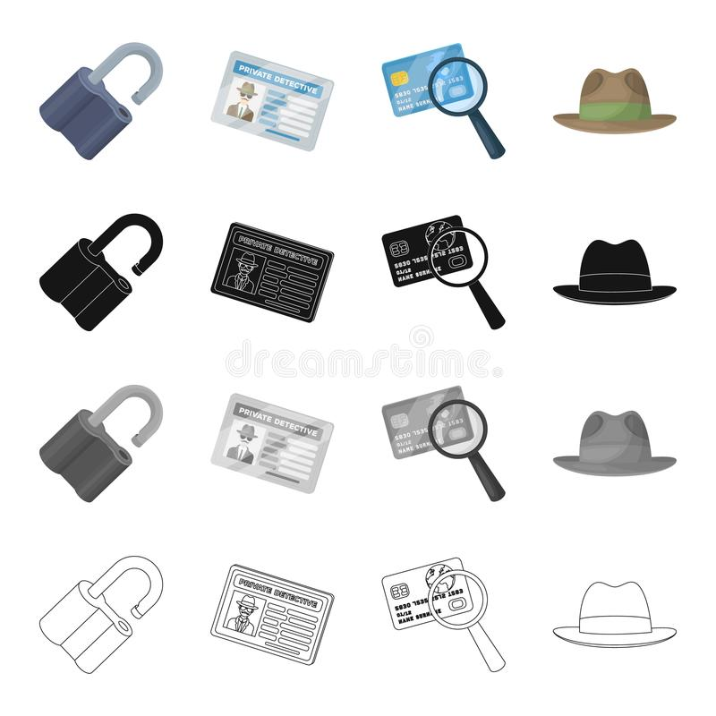 A broken lock, a detective`s identification, a magnifying glass and a credit card, a hat. Detective Agent set collection vector illustration