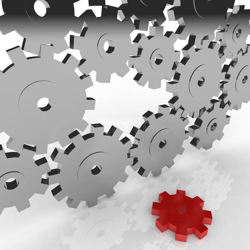 Broken Machine - One Gear Falls Out. A unique red gear falls out and the machine breaks down vector illustration