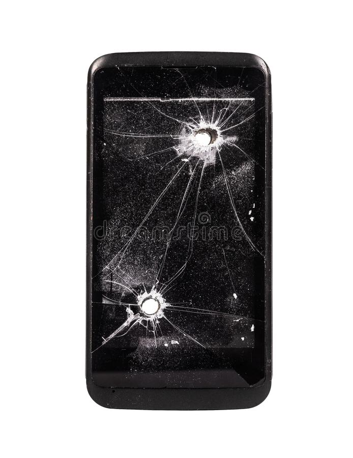 broken mobil telefon Smart telefon med kulhålet Borrat hål Bruten mobiltelefon som isoleras på vit bakgrund royaltyfri foto