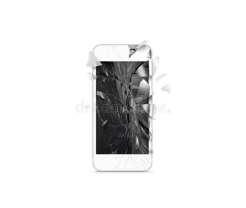Broken mobile cell phone screen, scattered shards, isolated. Smartphone monitor damage mock up. Cellphone crash and scratch. Telephone display glass hit stock photo