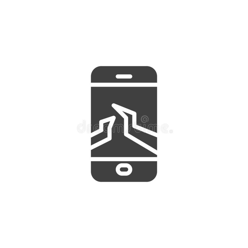 Broken mobile phone display vector icon. Filled flat sign for mobile concept and web design. Smartphone with a cracked screen glyph icon. Symbol, logo stock illustration