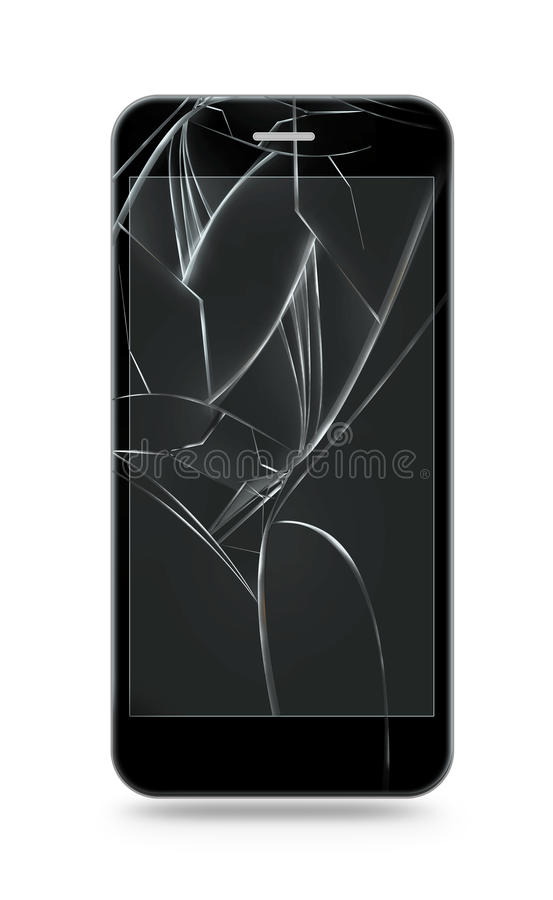 Broken mobile phone screen isolated. Smartphone monitor damage. Mock up. Cellphone crash and scratch. Telephone fail. Display glass hit. Device destroy problem stock illustration