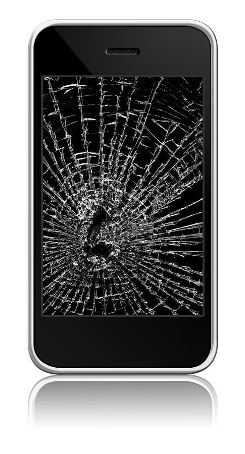 broken mobiltelefon royaltyfri illustrationer