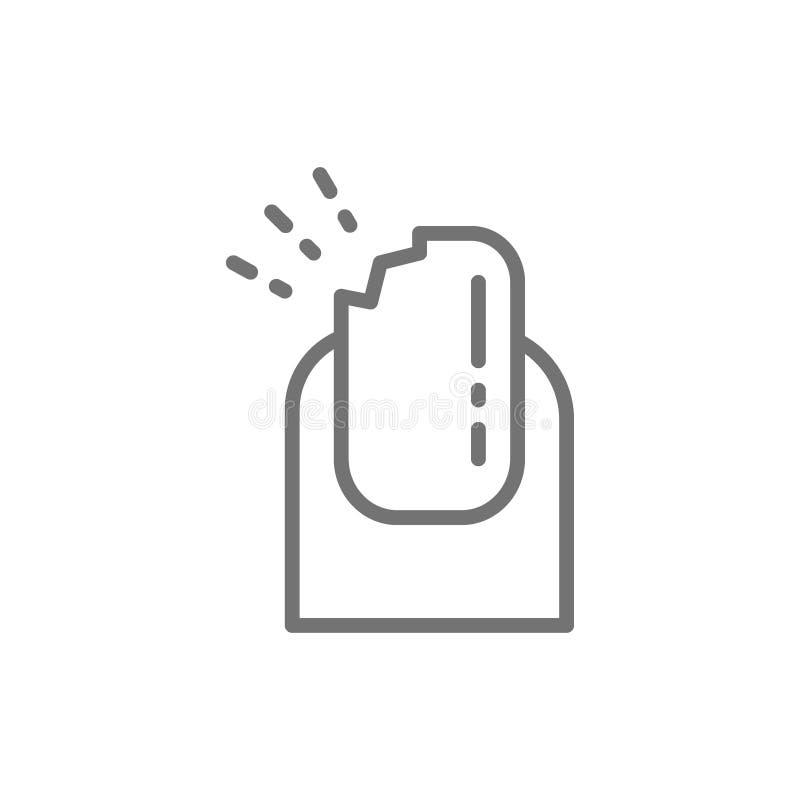 Broken nail, manicure salon line icon. stock illustration
