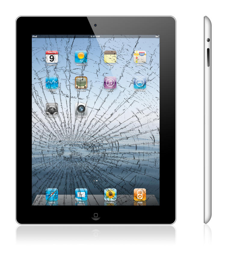 Broken new Apple iPad 3. Illustration of the new Apple iPad 3, with cracked touch screen display