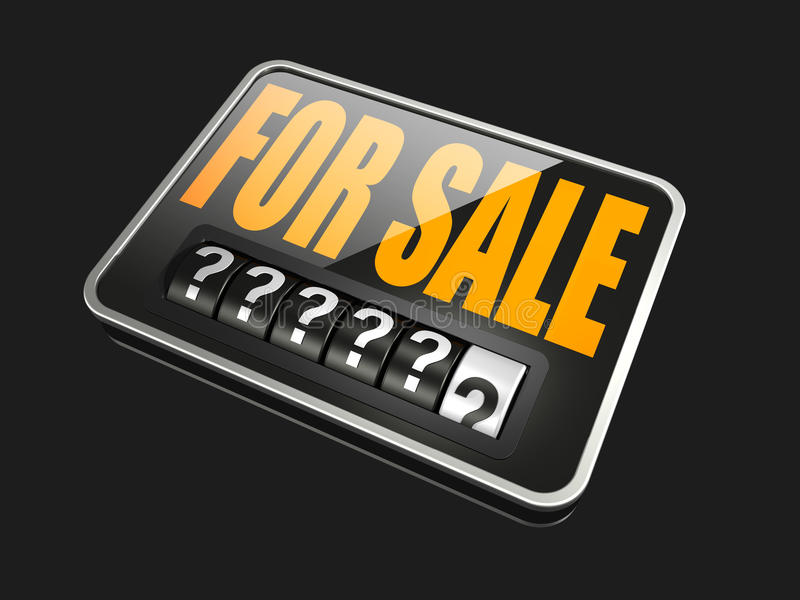 Broken Odometer. 3d rendering of a large black and orange For Sale sign with a six digit analog odometer integrated into it royalty free illustration