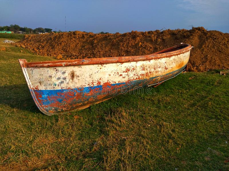 Broken Old Boat On Grass. royalty free stock images