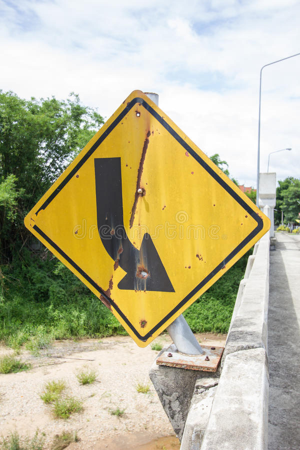 Broken and old road sign on the bridge in thailand stock image
