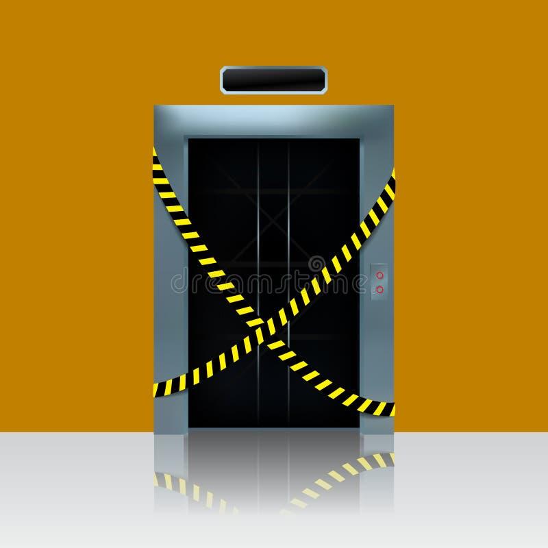 Broken out of order elevator. Vector illustration of elevator shaft with caution ribbon. Broken out of order elevator. Vector illustration of ellevator shaft stock illustration