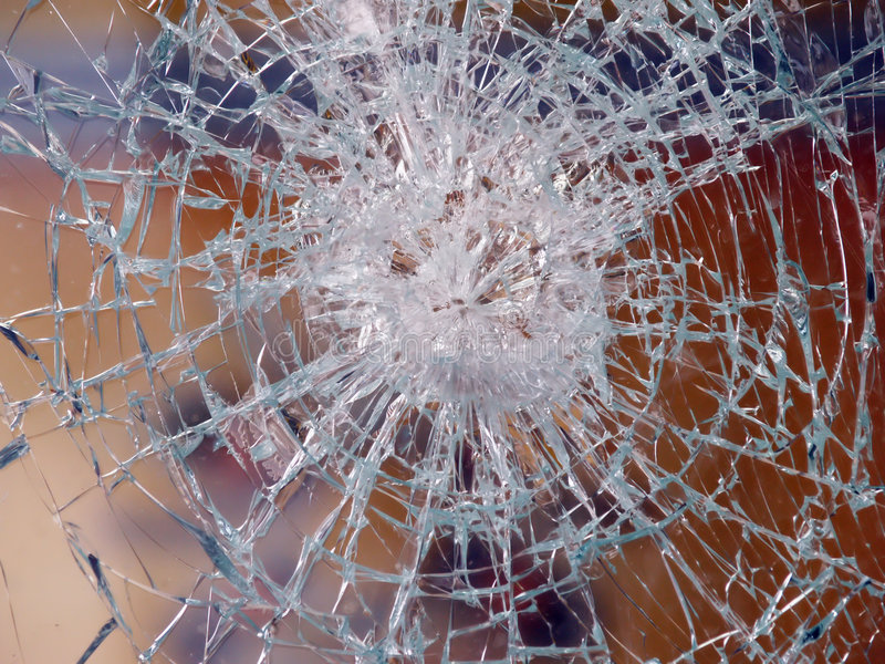 Broken pane of glass. Close up royalty free stock images