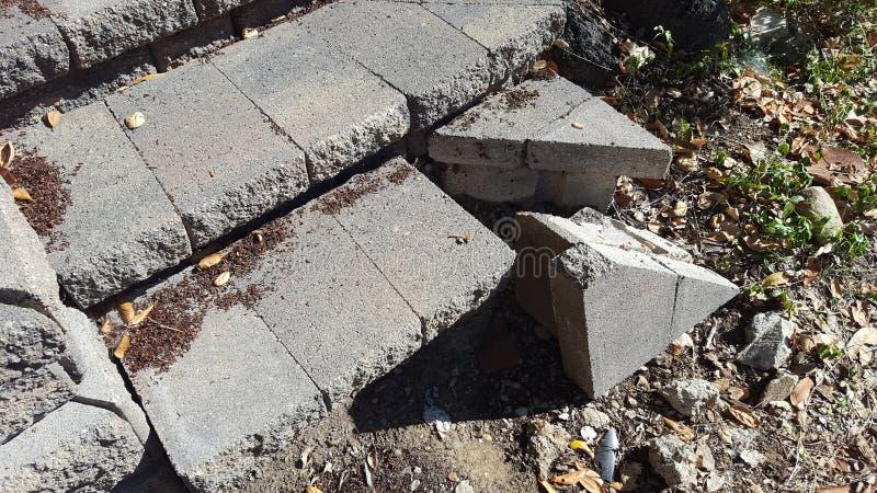 Broken paver step stock photos