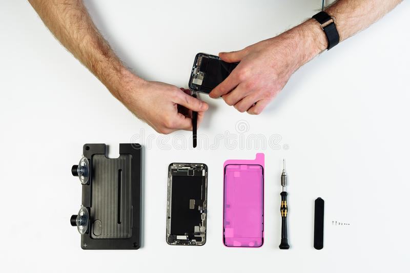 Broken phone repair disassemble part flat lay royalty free stock image