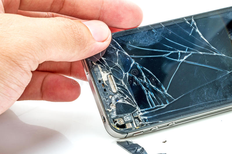 Broken phone screen royalty free stock photography