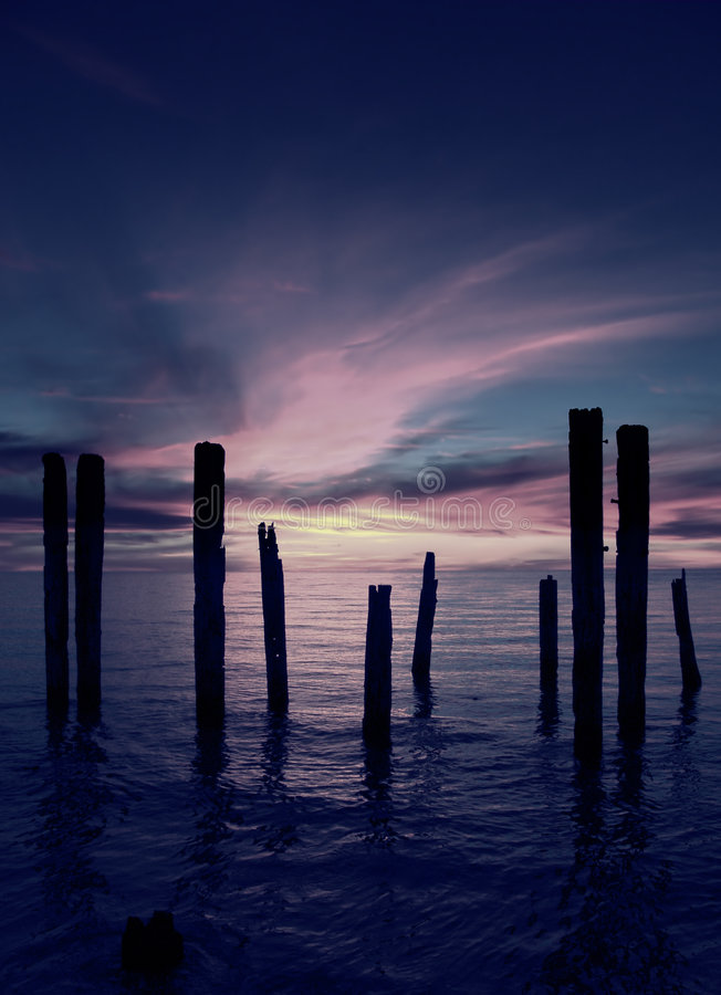 Download Broken Pier stock image. Image of wooden, clouds, sticks - 95157