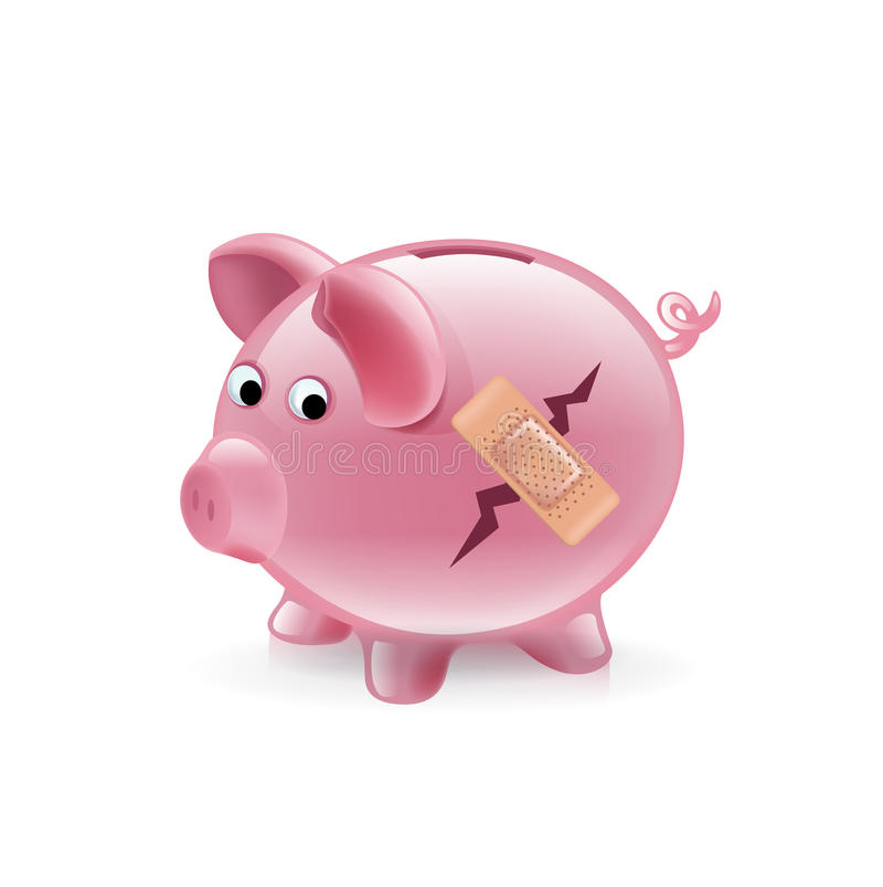 Broken piggy bank with bandage royalty free illustration
