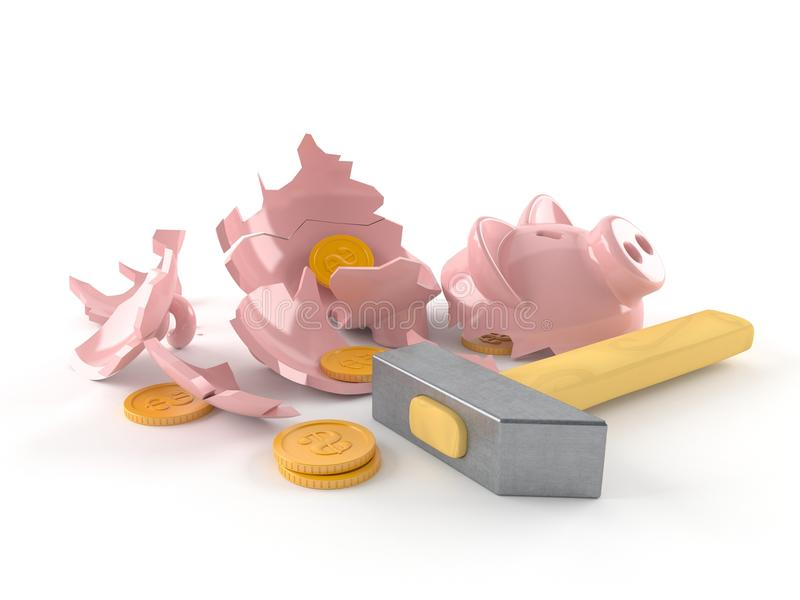 Broken Piggy bank royalty free illustration