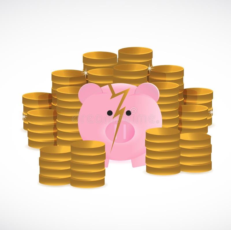 Broken piggy bank and coins illustration design royalty free illustration