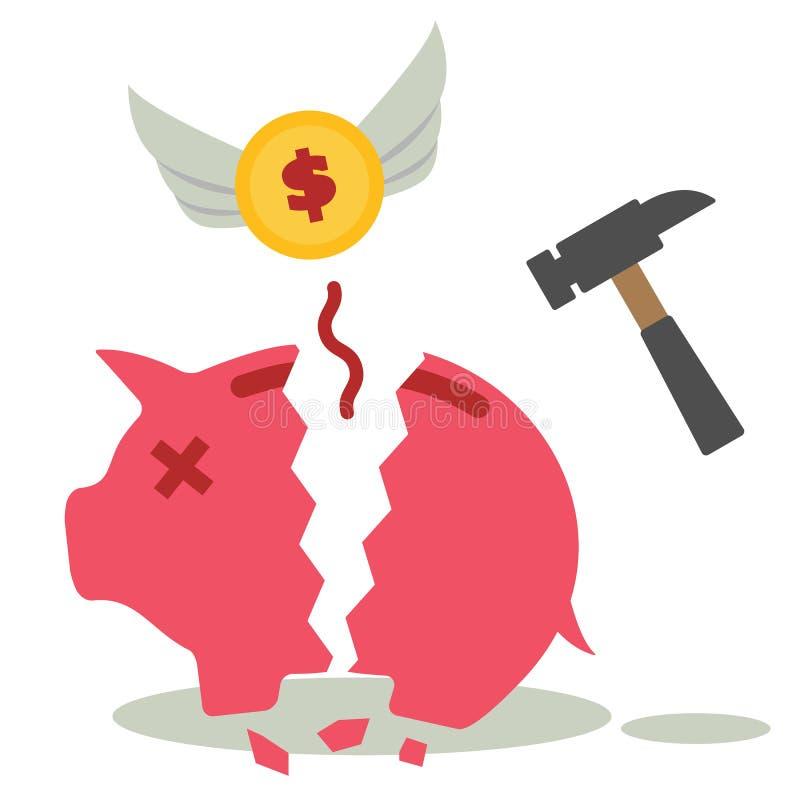 Broken piggy bank vector illustration