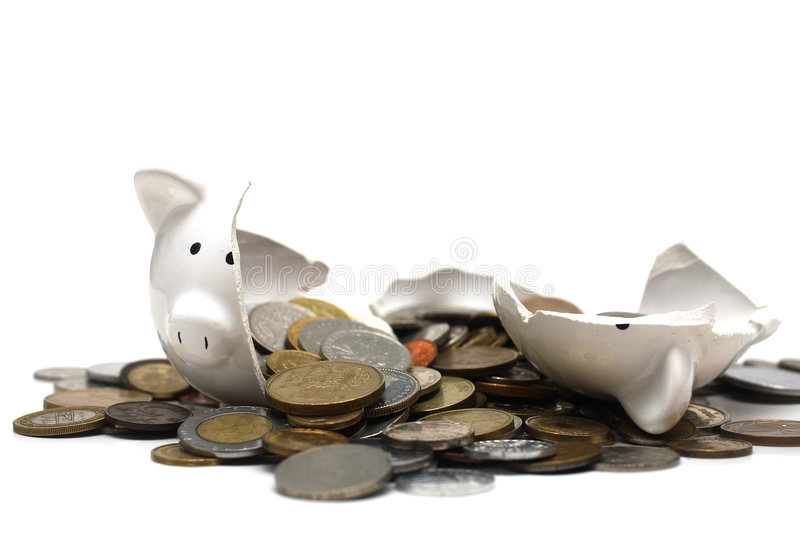 Broken Piggy Bank (on white) royalty free stock images