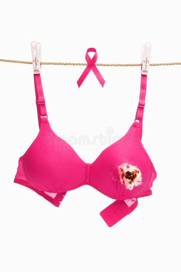 Broken Pink Bra & Ribbon For Breast Cancer Stock Photography