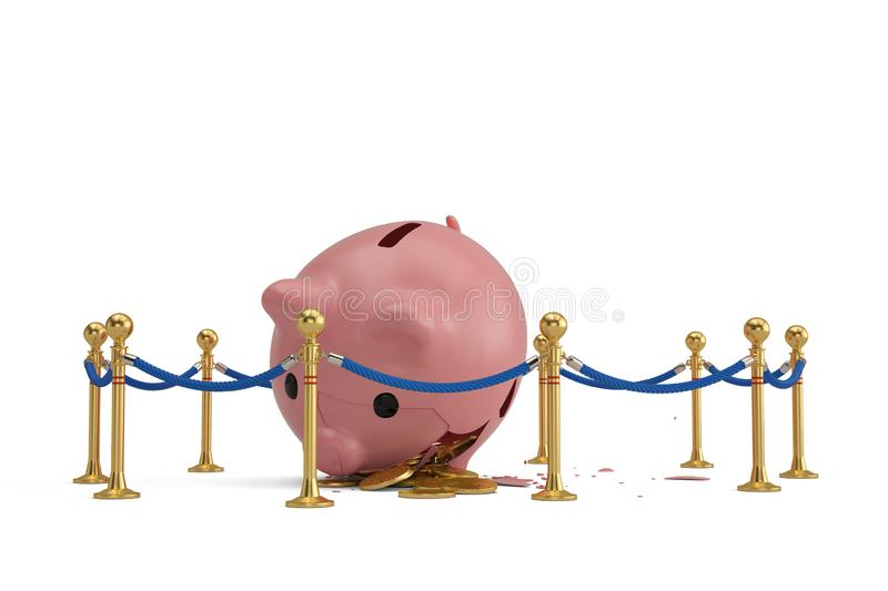A broken pink piggy bank with rope barrier isolated on white background. 3D illustration. vector illustration