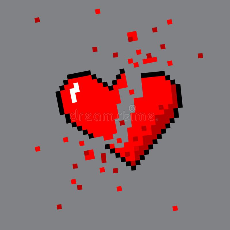 Broken pixel art heart for game royalty free illustration