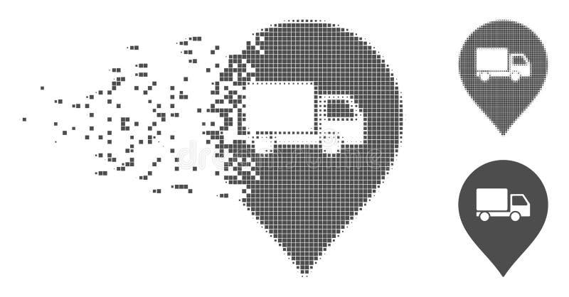 Broken Pixel Halftone Lorry Marker Icon. Gray vector lorry marker icon in dispersed, dotted halftone and undamaged whole variants. Disintegration effect involves vector illustration