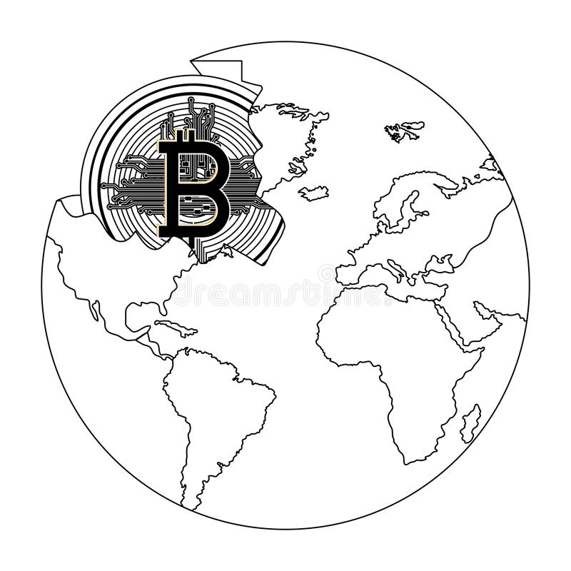 Broken planet with bitcoin royalty free illustration