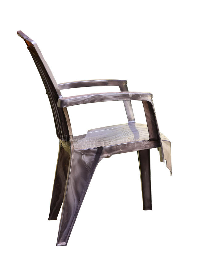 Broken Plastic Chair Isolated in White Background royalty free stock photos