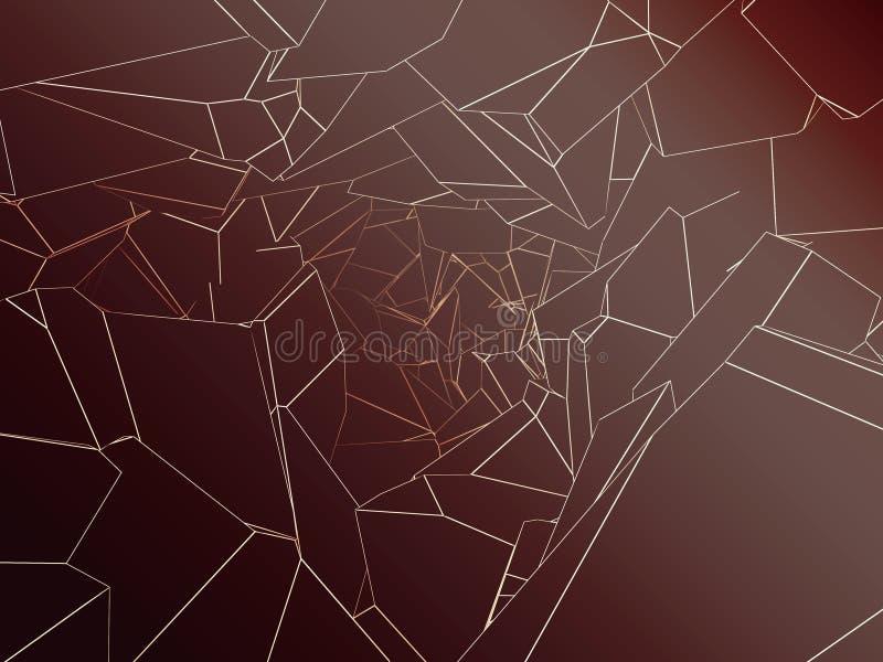 Broken polygonal cavern 3d rendering. Abstract polygonal cavern with broken lines 3d rendering royalty free illustration