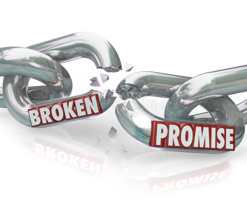 Broken Promise Chain Links Breaking Unfaithful Violation vector illustration