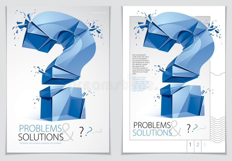 Broken Question Mark exploding brochure or flyer design, Query b. Reaking to pieces, vector 3d realistic illustration. Special character conceptual symbol, doubt royalty free illustration