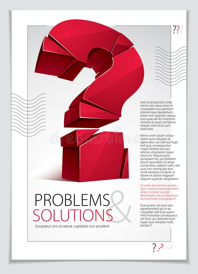 Broken Question Mark exploding brochure or flyer design, Query b. Reaking to pieces, vector 3d realistic illustration. Special character conceptual symbol, doubt vector illustration