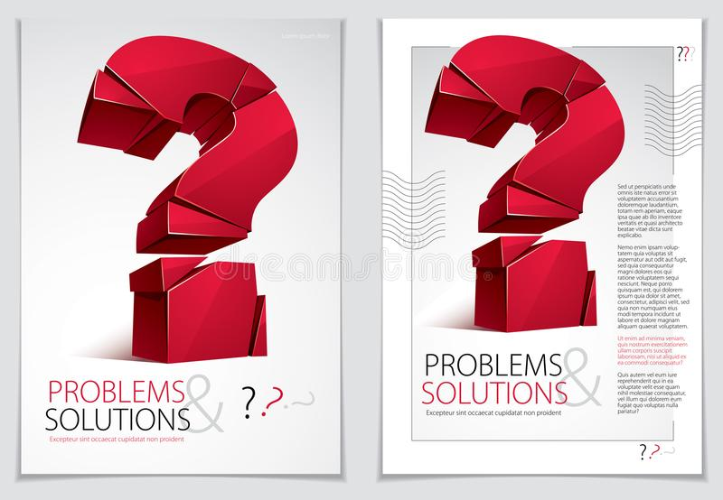 Broken Question Mark exploding brochure or flyer design, Query b. Reaking to pieces, vector 3d realistic illustration. Special character conceptual symbol, doubt stock illustration
