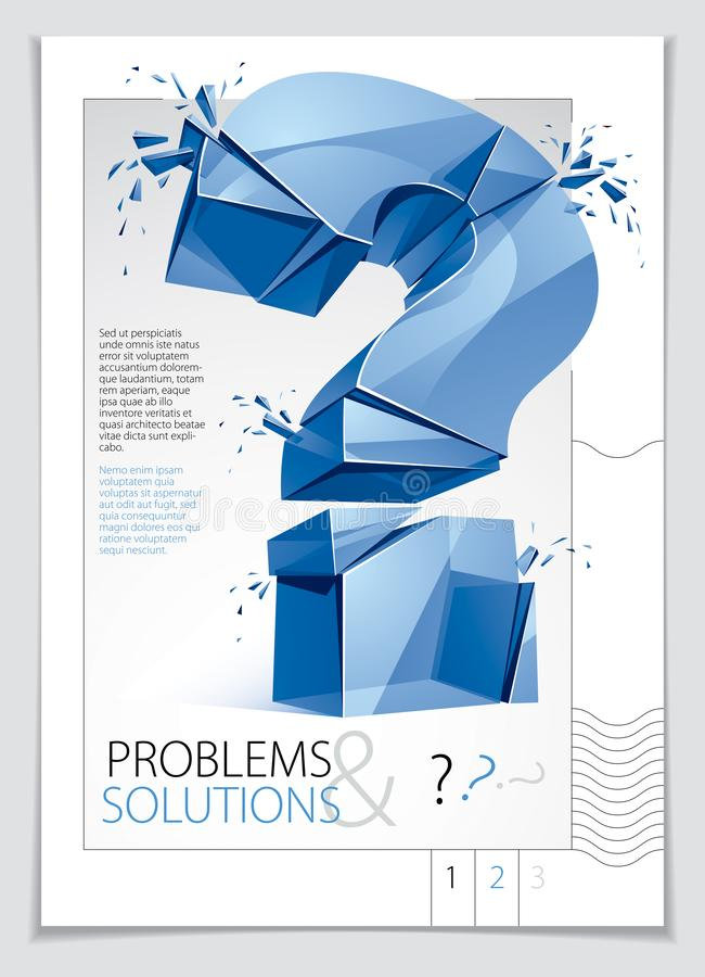 Broken Question Mark exploding brochure or flyer design, Query breaking to pieces, vector 3d realistic illustration. Special. Character conceptual symbol, doubt royalty free illustration