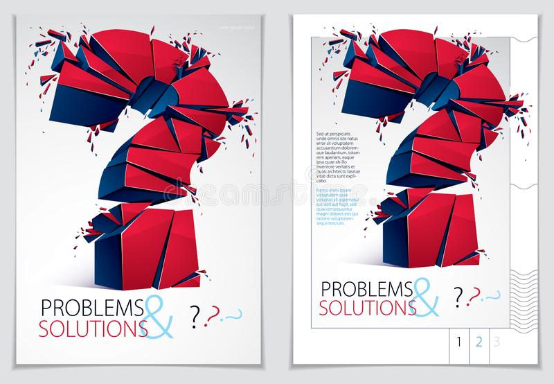 Broken Question Mark exploding brochure or flyer design, Query breaking to pieces, vector 3d realistic illustration. Special. Character conceptual symbol, doubt stock illustration