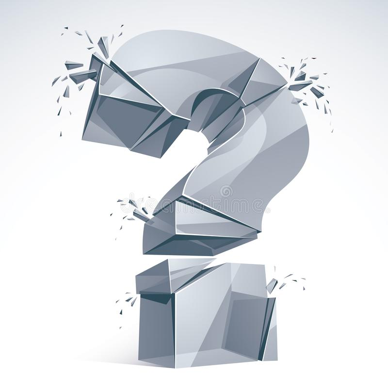 Broken Question Mark exploding, Query breaking to pieces, vector. 3d realistic illustration. Special character conceptual symbol, doubt, difficulty, FAQ and vector illustration