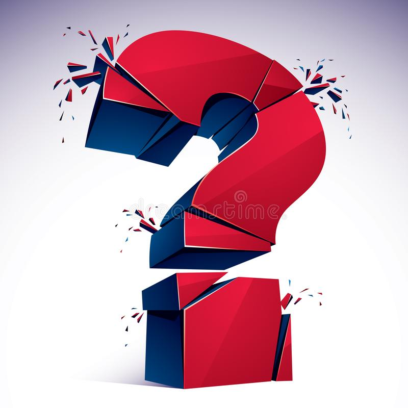 Broken Question Mark exploding, Query breaking to pieces, vector. 3d realistic illustration. Special character conceptual symbol, doubt, difficulty, FAQ and stock illustration