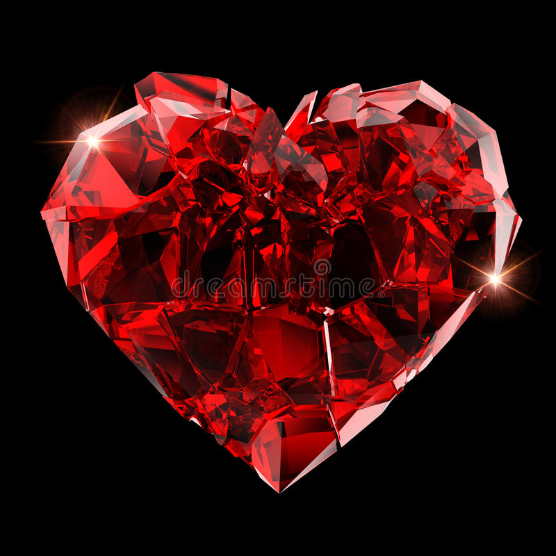Broken red heart royalty free stock photos