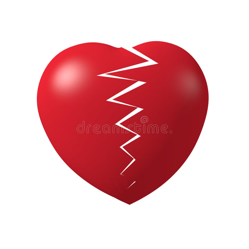 Broken red heart 3d. Broken red hearth im 3d model with light isolate white background royalty free stock image