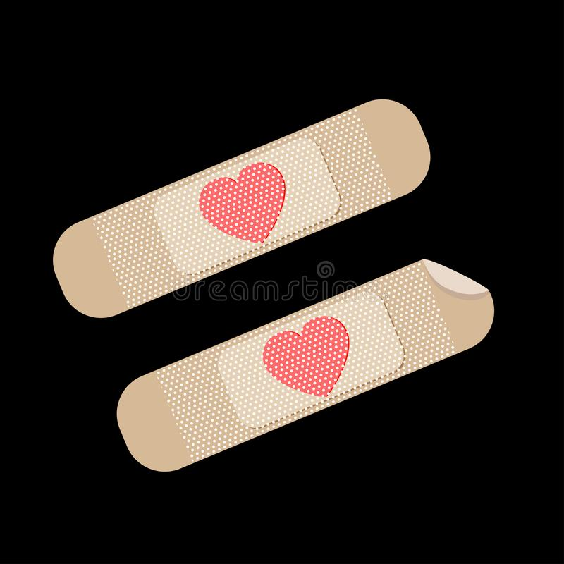 Broken red heart vector icon bandages plaster. Heart symbol. Broken heart illustration icon bandages plaster. Red hearts symbol vector isolate  white background royalty free illustration
