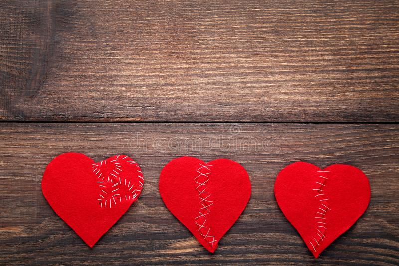 Broken red hearts royalty free stock image
